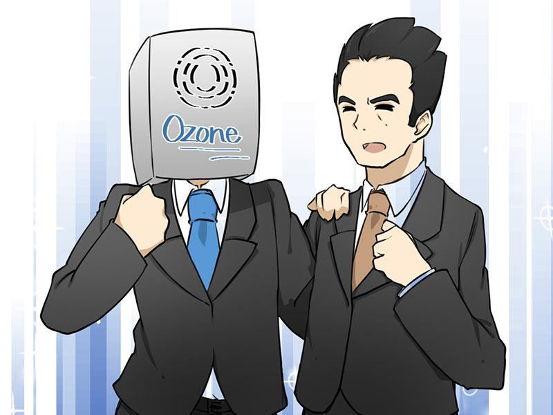 判決に喜ぶオゾン発生器と代理人