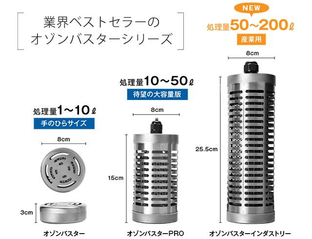 業界ベストセラーのオゾン水生成器オゾンバスターシリーズ